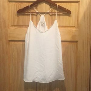 White scalloped tank racer back jcrew